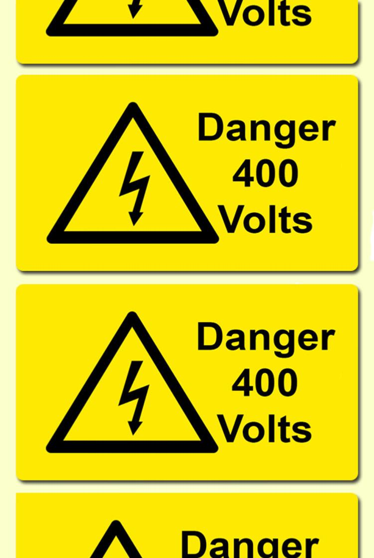 Danger 400 Volts Electrical Safety Warning Labels Cdm Labels
