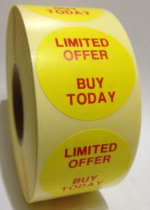 Limited Offer - Buy Today Labels - 40mm dia.