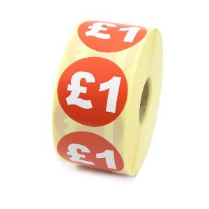 £1 Price Labels / Stickers - 40mm diameter - Red & White. 1,000 labels per roll.