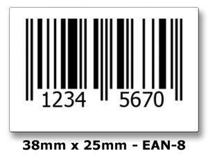 EAN-8 Printed Barcode Labels - 1000 Roll.