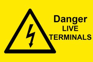 Danger Live Terminals Electrical Safety Warning Labels - 76 x 51mm