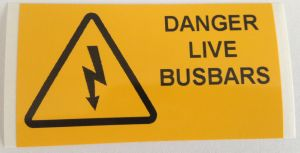 Danger Live Busbars Electrical Safety Warning Labels - 76 x 38mm