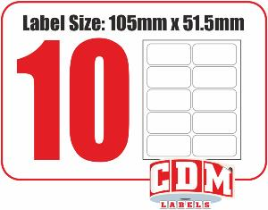 A4 Inkjet Labels - 10 Per Page - 105 x 51.5mm